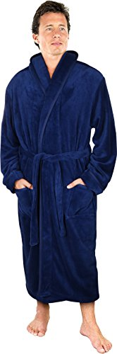 NY Threads Luxurious Men's Shawl Collar Fleece Bathrobe Spa Robe (Navy, Large/X-Large)