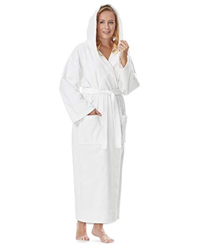 Arus Women's Hooded Classic Bathrobe Turkish Cotton Robe with Full Length Options (L-XL,White)