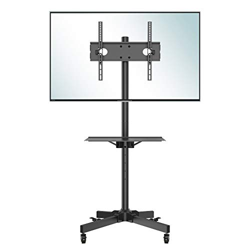 Rolling TV Stand, Mobile TV Stand with Wheels for 23-60 Inch LED, LCD, OLED Flat&Curved TVs, Height Adjustable TV Cart with Laptop Shelf and Locking Wheels, Holds Up to 55lbs Max VESA 400x400mm, Black