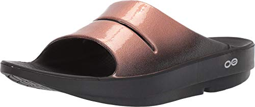 OOFOS - Women's OOahh Luxe - Post Exercise Active Sport Recovery Slide Sandal - Black/Gold - W7