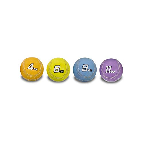 PowerNet Command Set Weighted Baseball Training Bundle | Four Ball Progressive Weight Set | 4, 6, 9 and 11 oz Heavy Training Balls for Pitching | Improve Control | Includes Long Toss Throwing Program