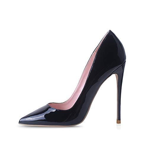 Elisabet Tang High Heels, Womens Pointed Toe Slip on Stilettos Party Wedding Pumps Basic Shoes BK 6 Black