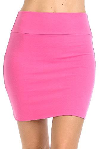 Fashion Aktiv Basic Double-Layer Cotton Simple Stretchy Tube Pencil Mini Skirt (Medium, Hot Pink)