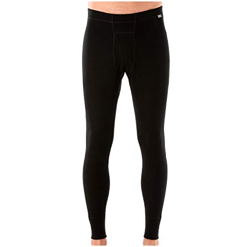 MERIWOOL Mens Base Layer 100% Merino Wool Thermal Pants Black