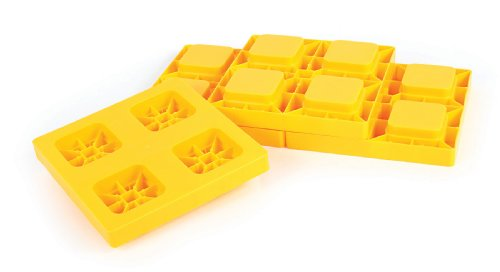 Camco Heavy Duty Leveling Blocks, Ideal For Leveling Single and Dual Wheels, Hydraulic Jacks, Tongue Jacks and Tandem Axles (4 pack) , Yellow - 44501