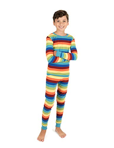Leveret Kids & Toddler Boys Girls 2 Piece Pajamas 100% Cotton Colorful Boy Stripes (Size 4 Years)
