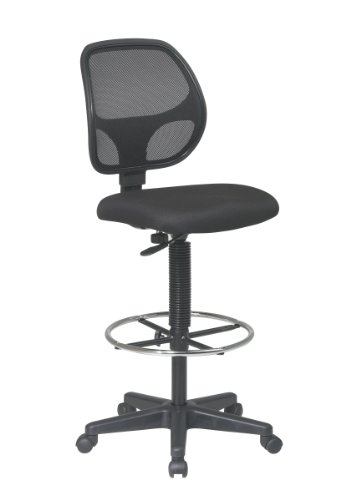 Office Star Deluxe Mesh Back Drafting Chair with 18.5' Diameter Adjustable Footring, Black Fabric Seat