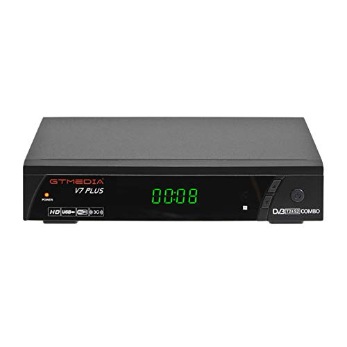 GT MEDIA V7 Plus HD Free to air Satellite Receiver FTA DVB-S2/T2 Built-in Galaxy 19 Digital TV Sat Decoder with Antenna WiFi USB Full HD 1080P H.265 HEVC Support YouTube PVR CCcam