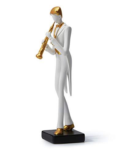 HAUCOZE Figurine Statue Musician Music Decor Violin Rock Band Sculpture Piano Gifts for Home Souvenirs Giftbox Resin 25cmH