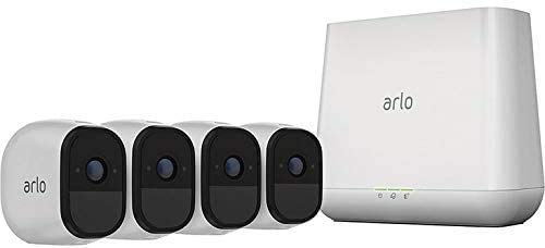 Arlo Pro 2 VMS4430P-100NAR Wireless Home Security Camera System with Siren, Rechargeable, Night Vision, Indoor/Outdoor, 1080p, 2-Way Audio, Wall Mount, 4 Camera Kit, White (Renewed)