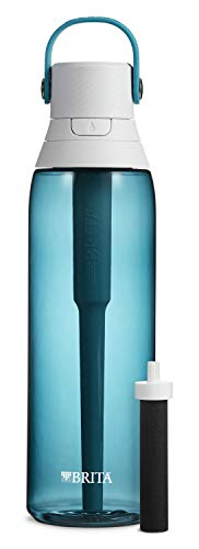 Brita Hard Sided Premium Filtering Water Bottle, 26 Ounce, Sea Glass
