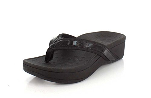 Vionic Women's Pacific High Tide Toepost Sandals – Ladies Platform Flip Flops with Orthotic Arch Support Black 8 Medium US