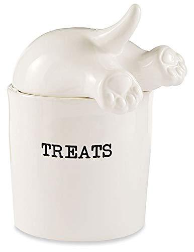 Dog Tail Treat Canister - Ceramic Dog Treat Jar
