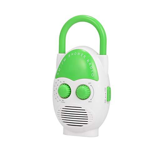 Denpetec Waterproof Shower Radio, AM/FM Bathroom Radio with Top Handle, Mini Portable Hanging Shower Radio, Built-in Speaker, Adjustable Volume