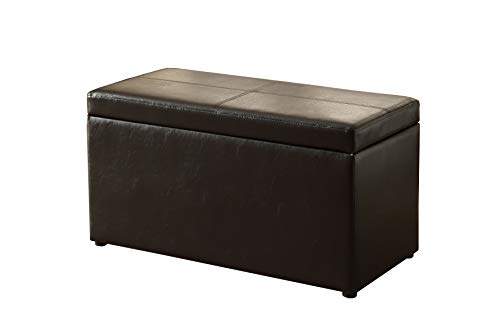 Black Ottoman Storage Bench Organizer Lift Top Padded Seat Foot Rest Footstool Living Room Relax Bed Room Bedroom Entryway Hallway Furniture Extra Seating