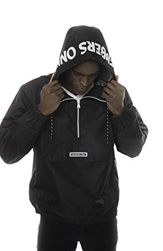 Members Only Solid Popover Jackets for Men Casual, Windbreaker Men, Half Zip Pullover Hooded Jacket (Solid Black, XL)