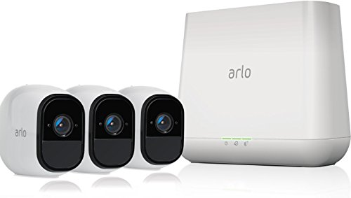 Arlo Technologies Pro -Wireless Home Security Camera System with Siren|Rechargeable,Night Vision,Indoor/Outdoor,HD Video,2-Way Audio,Wall Mount|Cloud Storage Included|3 Camera Kit (VMS4330), White
