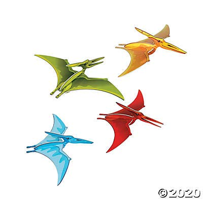 Dino mite Flying Pterodactyl Hanging Decor - Set of 4 - Dinosaur Party Supplies