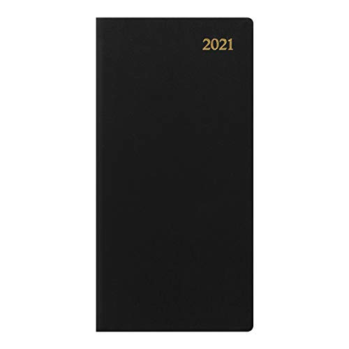 Letts Signature Week to View 2021 Planner, Bonded, Black, 6.625 x 3.25 inches (C38SUBK-21)