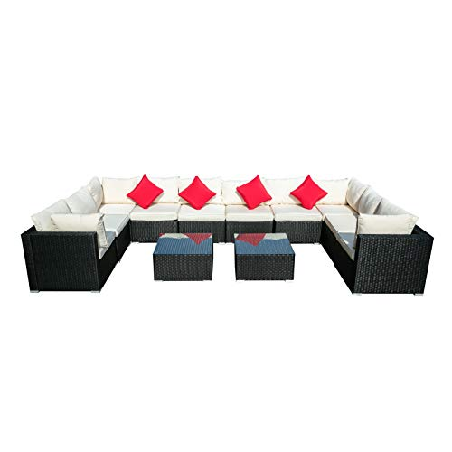 Outdoor Wicker Patio Furniture Sectional Cushioned Rattan Conversation Sofa Sets Black (Beige-12 Pieces)