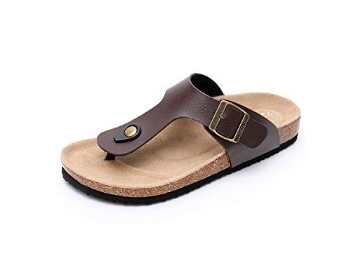 WTW Women's Arizona Flat 2 Strap Cork Sandals Soft Suede Footbed Slides (US 8, Brown)
