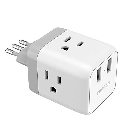 Italy Plug Adapter, TESSAN US to Italy Plug Adapter with 2 USB, Type L Italy Travel Adaptor, Electrical Outlet Plug Adapter for Italian Uruguay Chile Rome