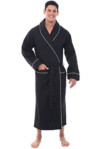 Alexander Del Rossa Mens Lightweight Cotton Robe, 3X Black (A0715BLK3X)