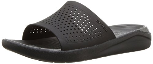 Crocs LiteRide Slide Sandal, Black/Slate Grey, 9 US Women / 7 US Men