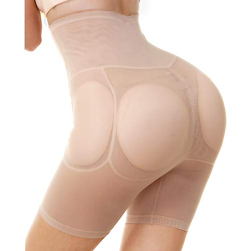 KOCLES Women Hip and Butt Enhancer, 4 Removable Pads Panties High Waist Trainer Shaper, Khaki, US 2/4 (Fit US XS, TagL)