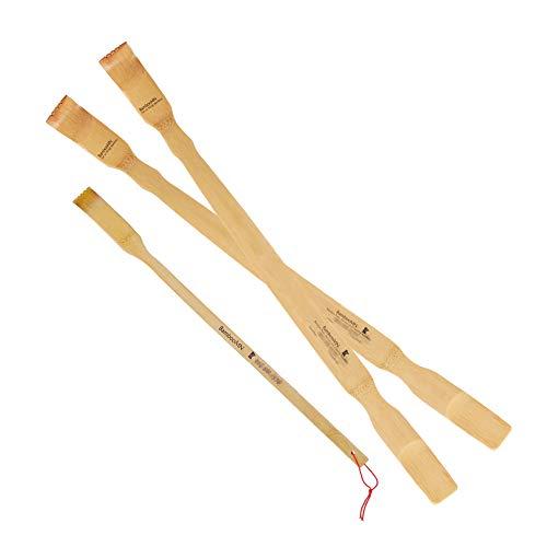 BambooMN 2 Pieces 25 Inch Extra Long Bamboo Backscratcher Shoehorn Plus Free Travel Size Back Scratcher