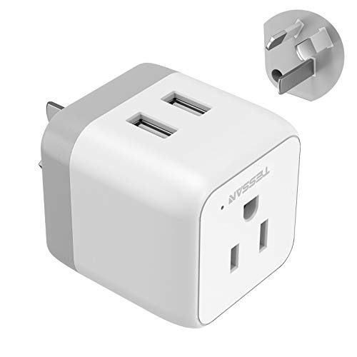 Australia Power Plug Adapter, TESSAN 3 in 1 China New Zealand Travel Plug Adapter with 2 USB Ports, Outlet Adapter for US to Fiji Argentina, Type I