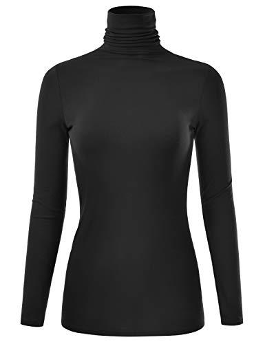 EIMIN Women's Long Sleeve Turtleneck Lightweight Pullover Slim Shirt Top Black M