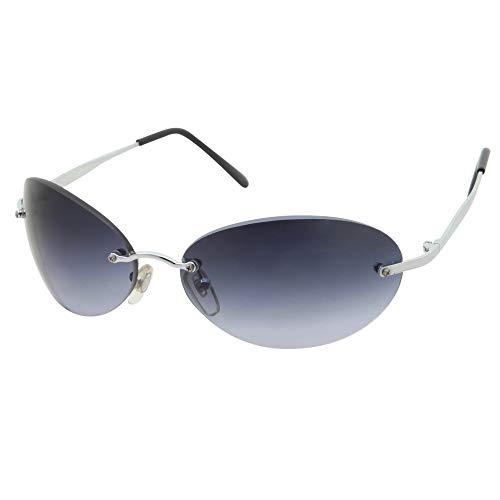 Men's Rimless Sunglasses   Matrix Morpheus NEO Type Costume Black Round Oval (Black Silver)