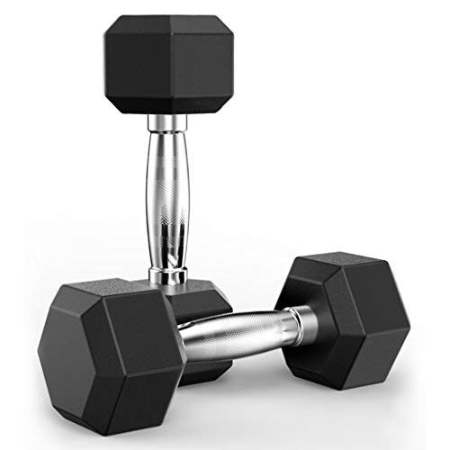 SAQIMA Rubber Encased Hex Dumbbell in Pairs, Dumbbells Free Weights Dumbbells Weight Set Rubber Coated cast Iron Hex Black Dumbbell (5 Pounds,Pair)