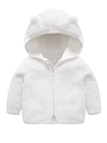 Bear Ears Shape Fleece Warm Hoodies Sweater Casual Plain Shearling Jacket for Little Kid White 12-18 Months