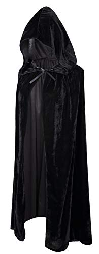 Crizcape Kids Costumes Capes Cloak with Hood for Halloween Party 8-18 Years Black