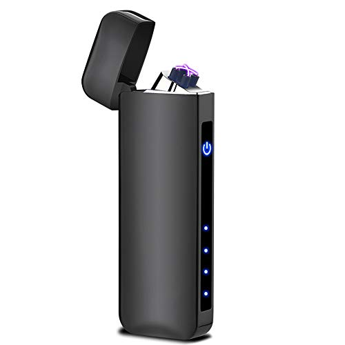 Windproof Arc Lighter X Plasma Lighters Rechargeable USB Lighter Electric Lighter for Cigarette Candle-with LED Display Power (Classic Black)