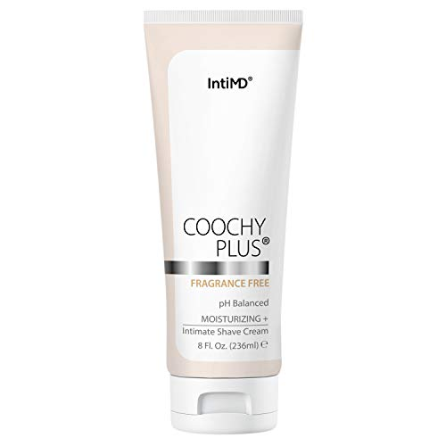 Coochy Plus Intimate Shaving Cream FRAGRANCE FREE For Pubic, Bikini Line, Armpit and more - Rash-Free, Prevents Razor Burns & Bumps, In-Grown Hairs, Itchiness 8oz Tube