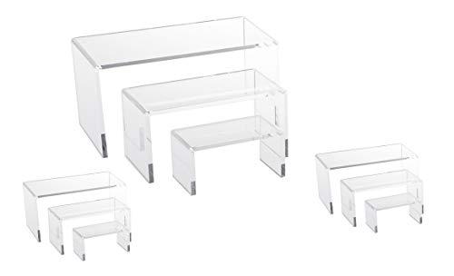 N'icePackaging 9 Piece Set - Clear Acrylic Display Risers, Acrylic Clear Riser Set