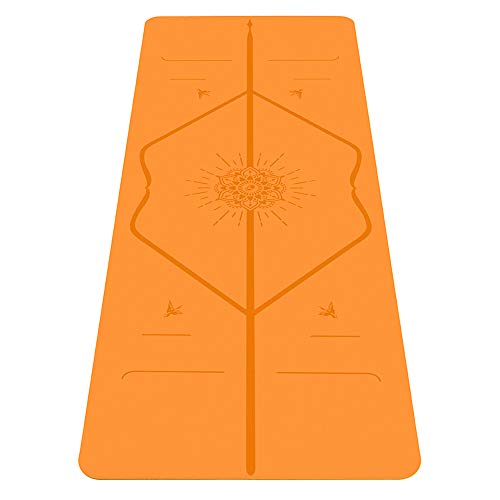 Liforme Happiness Yoga Mat - Patented Alignment System, Warrior-Like Grip, Non-Slip, Eco-Friendly, Biodegradable, Sweat-Resistant, Long, Wide and Thick for Comfort - Happiness Orange Special Edition
