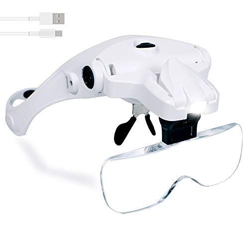 Hands Free Headband Magnifying Glass, USB Charging Head Magnifier with LED Light Jewelry Craft Watch Hobby 5 Lenses 1.0X 1.5X 2.0X 2.5X 3.5X (Upgraded Version)