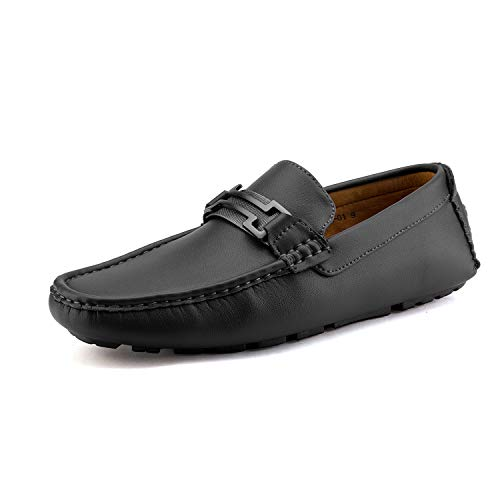 Bruno Marc Men's Hugh-01 Black Faux Leather Driving Penny Loafers Boat Shoes - 8.5 M US