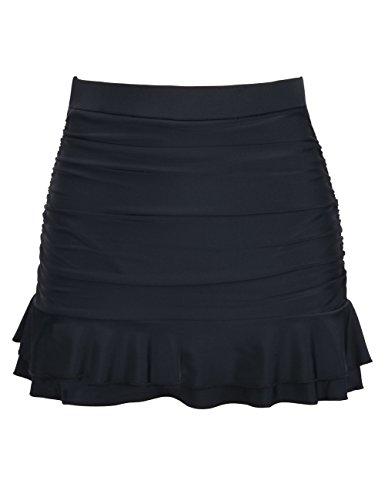 Hilor Women's Skirted Bikini Bottom High Waisted Shirred Swim Bottom Ruffle Swim Skirt Black Tag Size 8(fits 4)