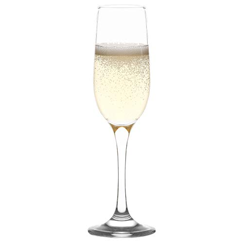 LAV Champagne Mimosa Glasses Set 6-Piece | 7.25 Oz Toasting Flutes for Champagne & Sparkling Wine | Elegant Clear Lead-Free Prosecco Party Glasses for Weddings and Fancy Events