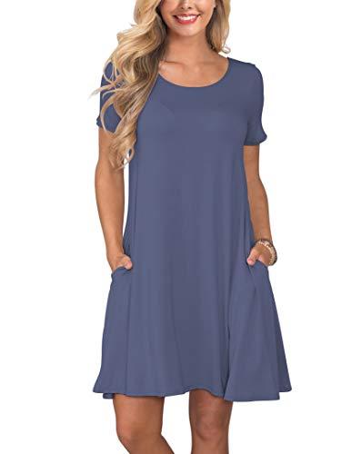 KORSIS Women's Summer Casual T Shirt Dresses Swing Dress PurpleGray XXL