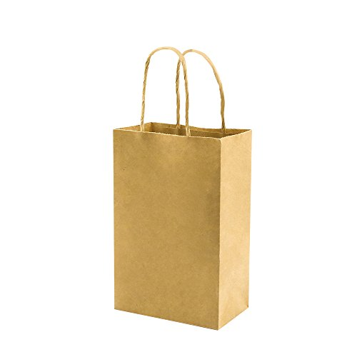 Plain Brown Small Paper Bags with Handles Bulk, 5.25x3.25x8 inch 100 Pack, bagmad Gift Paper Bags, Kraft Party Favors Grocery Retail Shopping Bags, Craft Bags Cub Sacks (Not thick, 100pcs)