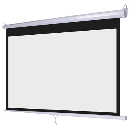 Manual Pull Down White Projection Screen Wall Ceiling Mounted 72' Widescreen View 16:9 Ratio Steel Case for Home Movie Theater Office Video Projector Retractable