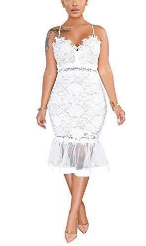 Womens Sexy Spaghetti Straps Lace Cold Shoulder Elegant High Low Mermaid Party Dress White