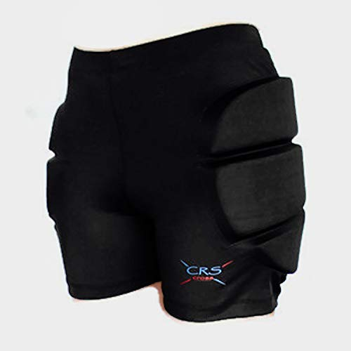 CRS Cross Padded Figure Skating Shorts – Ladies Crash Butt Pads for Hips Tailbone & Butt (9 Pads) (Black 9 Pads, Ladies X-Small/Small)