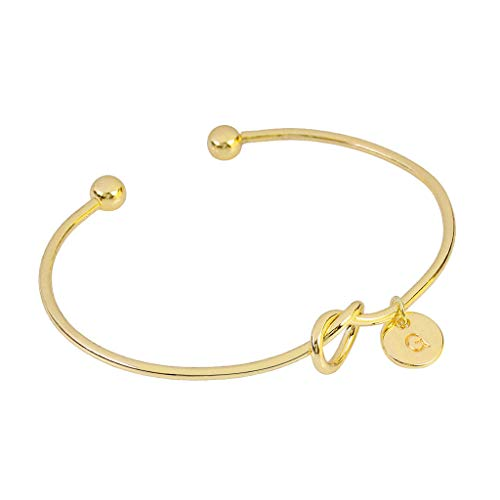 Clearance! Hot Sale!  European and American Style Heart Shape Metal Simple Knotted Bracelet 26 Letters Under 5 Dollars Valentine's Day Gifts for Girlfriend/Boysfriend 2019 New